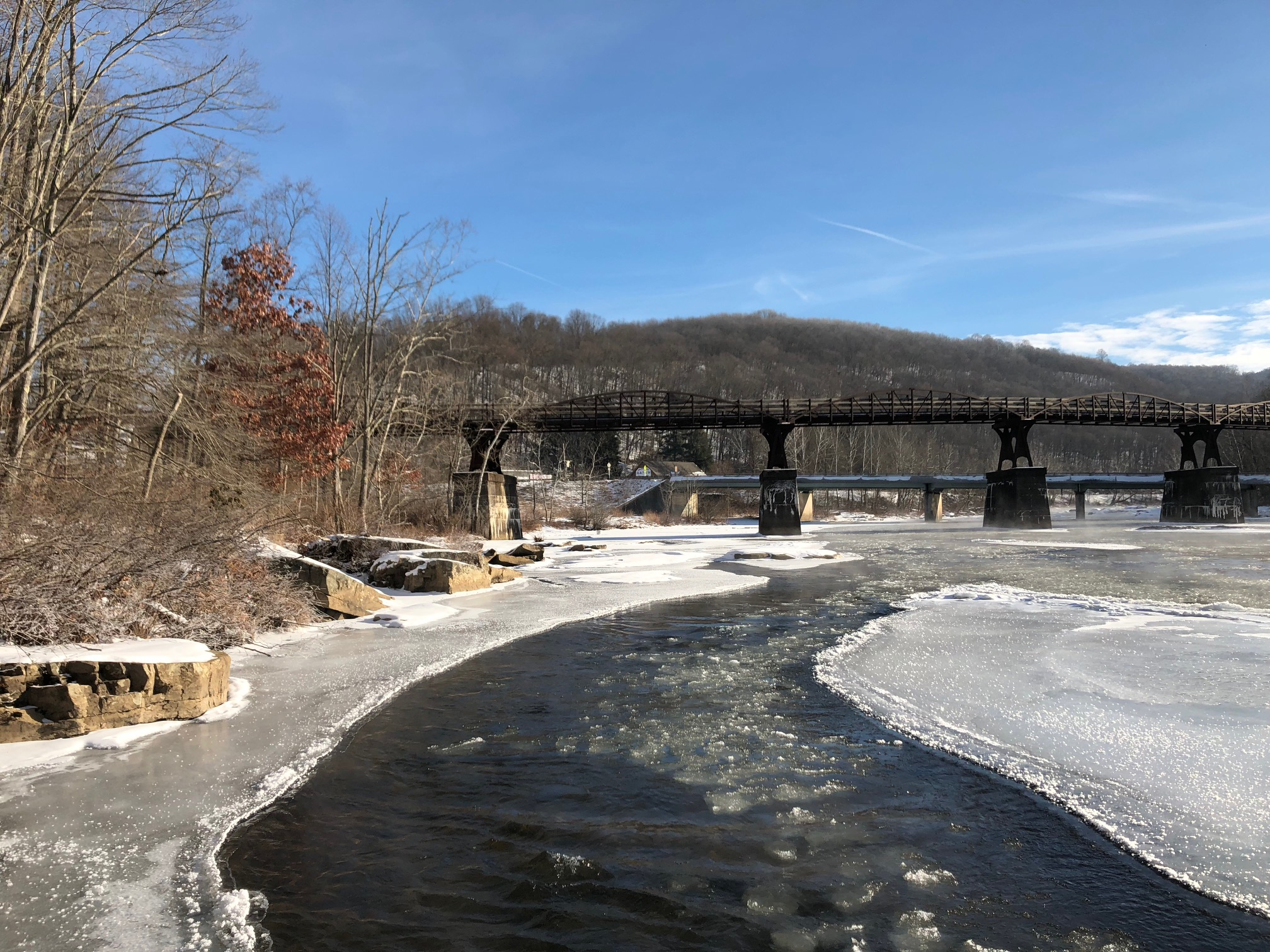 An icy Youghiogheny River at Ohiopyle, Pennsylvania (January 2018).