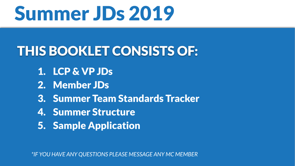 Click Here for the JD Booklet