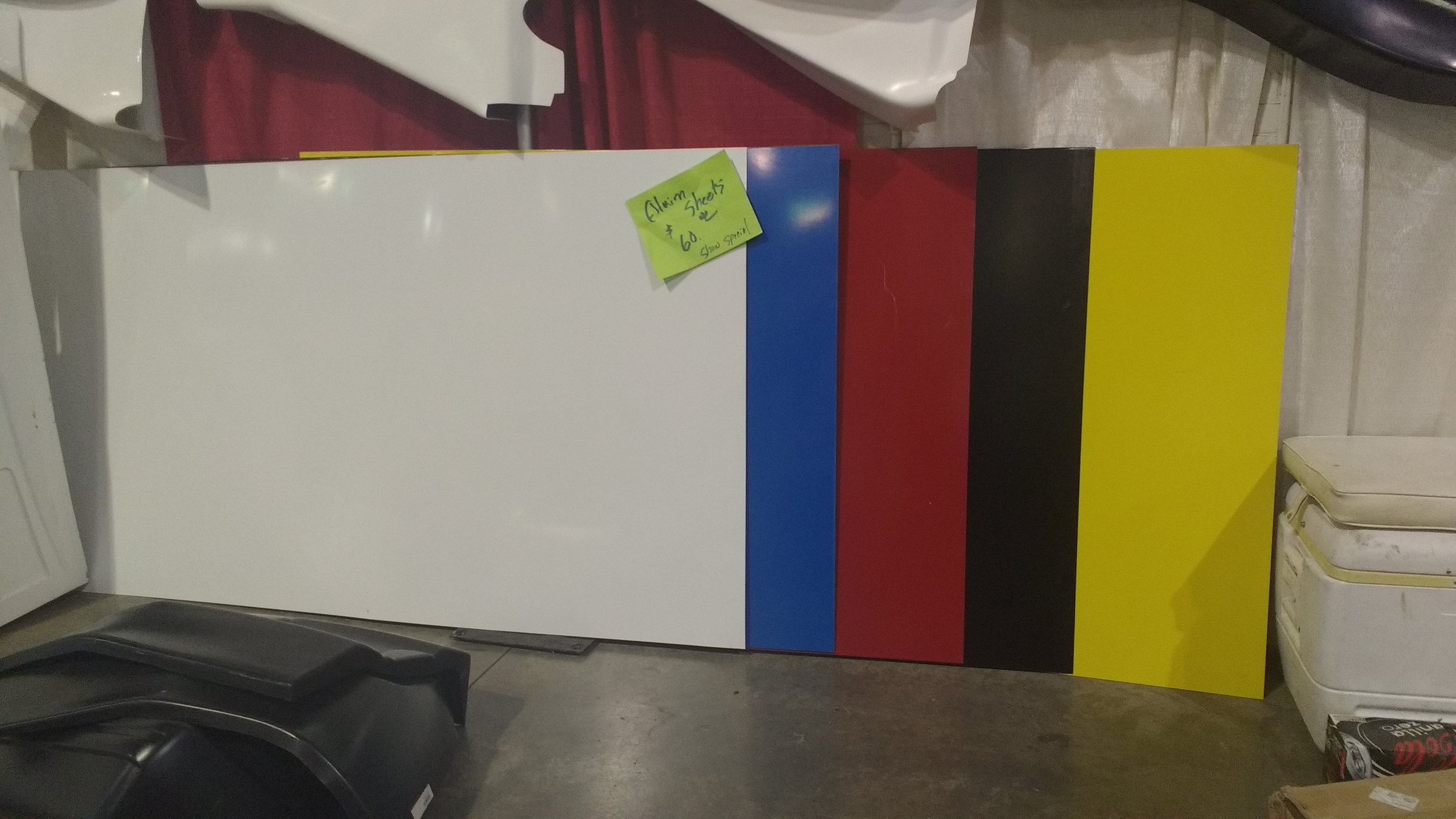 Now in stock 4x8 Aluminium sheets. You can come by the shop and buy our extra sheets if you want to build your own body. Give us a call ahead of time to make sure what you need is in stock!  Price per sheet - $60