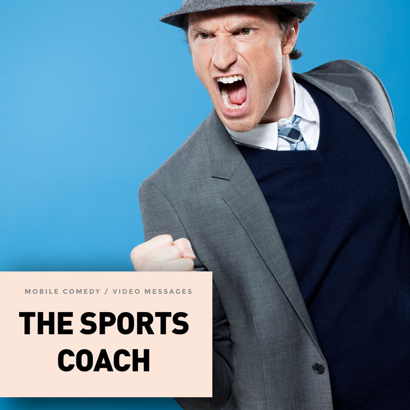 Encouragements, sports tips, pep talks, and video e-cards by Coach Leonard, a fiery, young college football coach in his late 30s. He's a bit old-fashioned, always wearing a Tom Landry-esque overcoat and carrying a clipboard that he bangs on with his fist for emphasis.