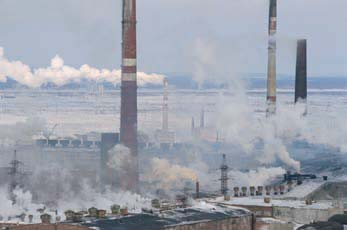The smelter complex at Norilsk, western Siberia– the largest source of sulfur dioxide emissions within the Arctic region. Arctic Monitoring and Assessment Programme, 2006