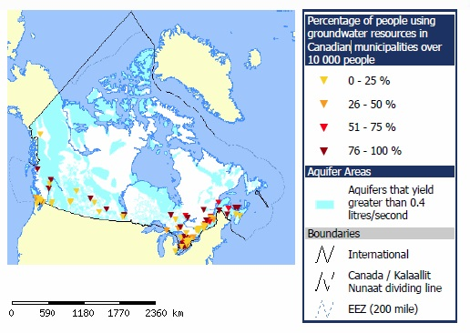 Location of Aquifers in Canada and Proportions of People Relying on Ground Water