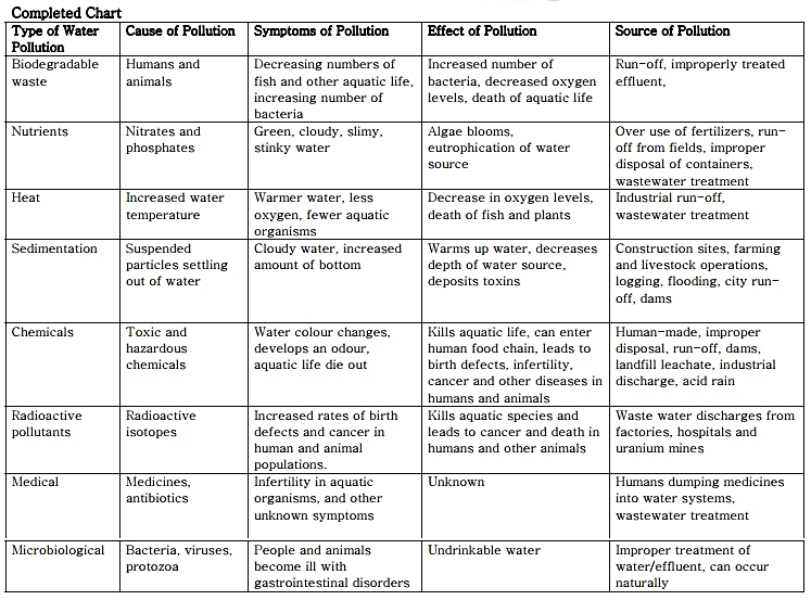 Completed Types of Pollutants Chart