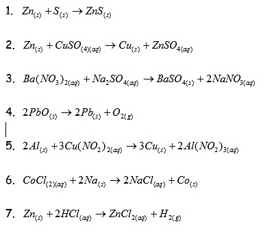 Decomposition Reactions, Combination Reactions, Single Displacement Reactions, and Double Displacement Reactions