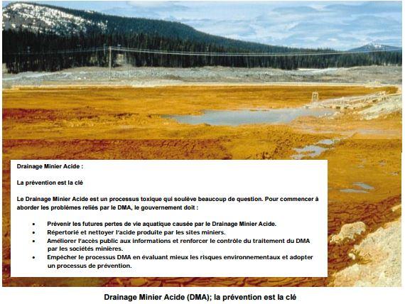 Drainage Minier Acide (DMA); la prévention est la clé