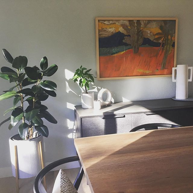 Sunshine, plants and a beautiful Karl Schrag landscape make for a lovely Sunday morning. #fineart #vintageart #karlschrag #caainstall