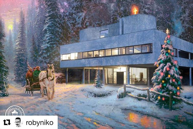 Never thought I would ever smile this much at a Thomas Kinkade! Feels like balance has been restored! 👌🏻Nice work @robyniko! #Repost @robyniko ・・・ Corbsmas season is upon us! Le Corbusier's Villa Savoye ... Kinkade Modernism no. 4  #houses #housesofinstagram #architecture #modernism