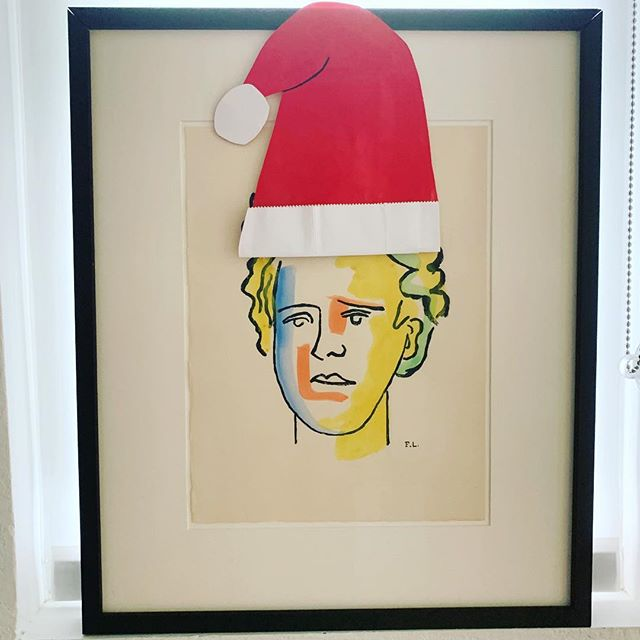 Merry Christmas and Happy New Year from California Art Advisory! (And a very festive Arthur Rimbaud) #fineart #fernandleger #arthurrimbaud #festive #santahat #dontworryitstemporary