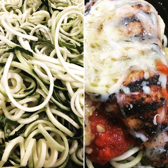 Oodles and Oodles of Fresh Zucchini Noodles...The Perfect Side Accompanying our Grilled Chicken Parmesan.  @chefjeremycoco  #chefjeremycoco