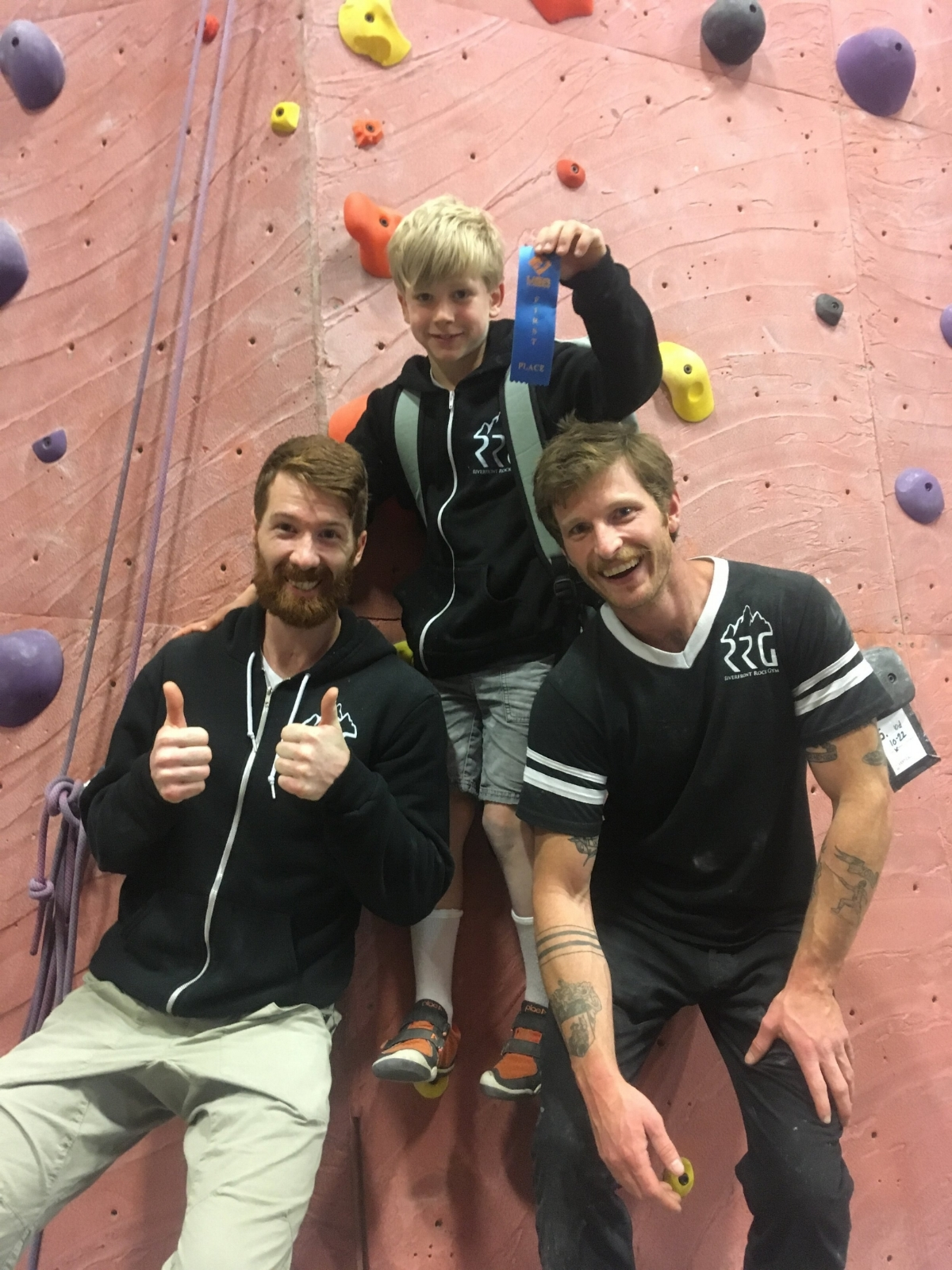 Coach Nate and head coach Drew ecstatic with Kian's 1st place in Youth Category D at the Vertical World Redmond competition.