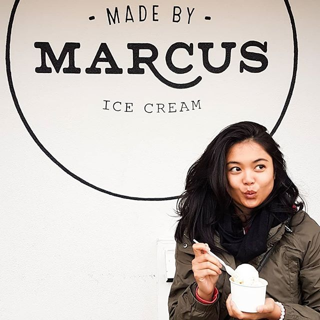 """There were so many amazing flavors at @madebymarcus in Kensington yesterday but I wasn't brave enough get a whole scoop of it. So boring ol' mom that I am, I got the tahitian vanilla bean. Ummm... sooo good. × This is my """"ooooo... I almost dropped my ice cream,"""" face while my daughter took the shot. x Swipe left to see my kids' faces when I asked them to """"smile"""". They give their dad beautiful photos and I always get the funny ones. Bunch of oddballs. . . . . . . #lifestyleblogger #lifeinyyc #livingincalgary #yyc #madebymarcus #wintergreen #fall #autumn #babyitscoldoutside #thatsdarling #darlingweekend #icecream"""