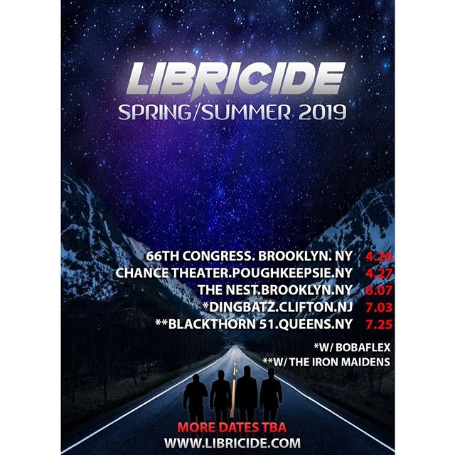We've got some great shows coming up this Spring & Summer. 🔥🔥🔥 - Be sure to join us for one or all of these dates- we hope to see you out there! 🤟🤟🤟 - #libricide #spring #summer #tour #dates #shows #music #livemusic #band #act #promo #flyer #rock #alternative #pop #metal #hiphop #fusion #ontheroad #guitar #bass #vocals #drums #samples #brooklyn #poughkeepsie #nyc #newyork #newyorkcity #NY