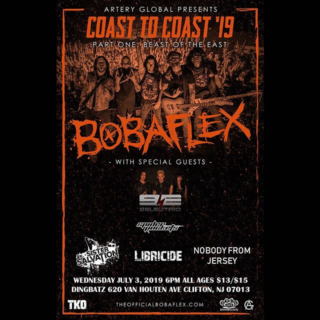Excited to announce we'll be sharing the stage with the one and only @therealbobaflex on their Coast To Coast '19 Tour, presented by @arteryglobal. - Wednesday, July 3rd at Dingbatz w/ @9Electric, @spiderrockets, @sistersalvationband & more - Grab your discount advance tickets now at: www.libricide.com/store - 🤙🤙🤙Catch you at the show!!!🤙🤙🤙 - #libricide #bobaflex #band #coasttocoast #show #concert #summer #tour #artist #showcase #newmusic #livemusic #promo #flyer #guitars #bass #drums #vocals #music #rock #hardrock #catchy #pop #metal #dingbatz #nj #nyc #newyorkcity #newyork #NY