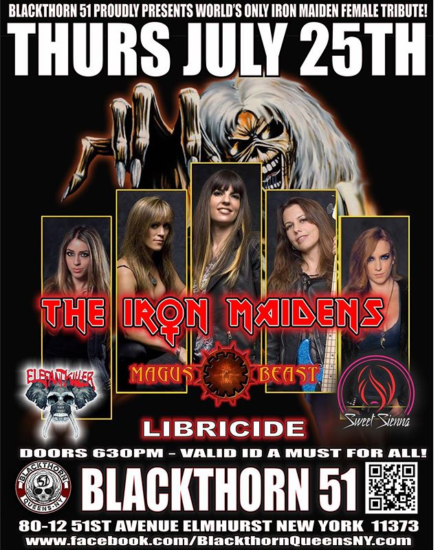 New York! @theironmaidens make their ONLY NYC area appearance with us on THURS JULY 25th @ @blackthorn51nyc. - We've got DEEPLY discounted tickets for a limited time for anyone interested on our website: www.libricide.com/store - 👊👊👊 AVOID THE FEES AND COME ROCK OUT WITH US. 👊👊👊 - ⚡️⚡️⚡️SEE YOU AT THE SHOW⚡️⚡️⚡️ - #libricide #theironmaidens #concert #tickets #dontmissout #nightout #rock #show #music #concert #plans #promo #pic #flyer #ironmaiden #hardrock #heavymetal #livemusic #electricguitar #bass #drums #vocals #instagood #screamforme #runtothehills #queens #newyorkcity #nyc #newyork #NY