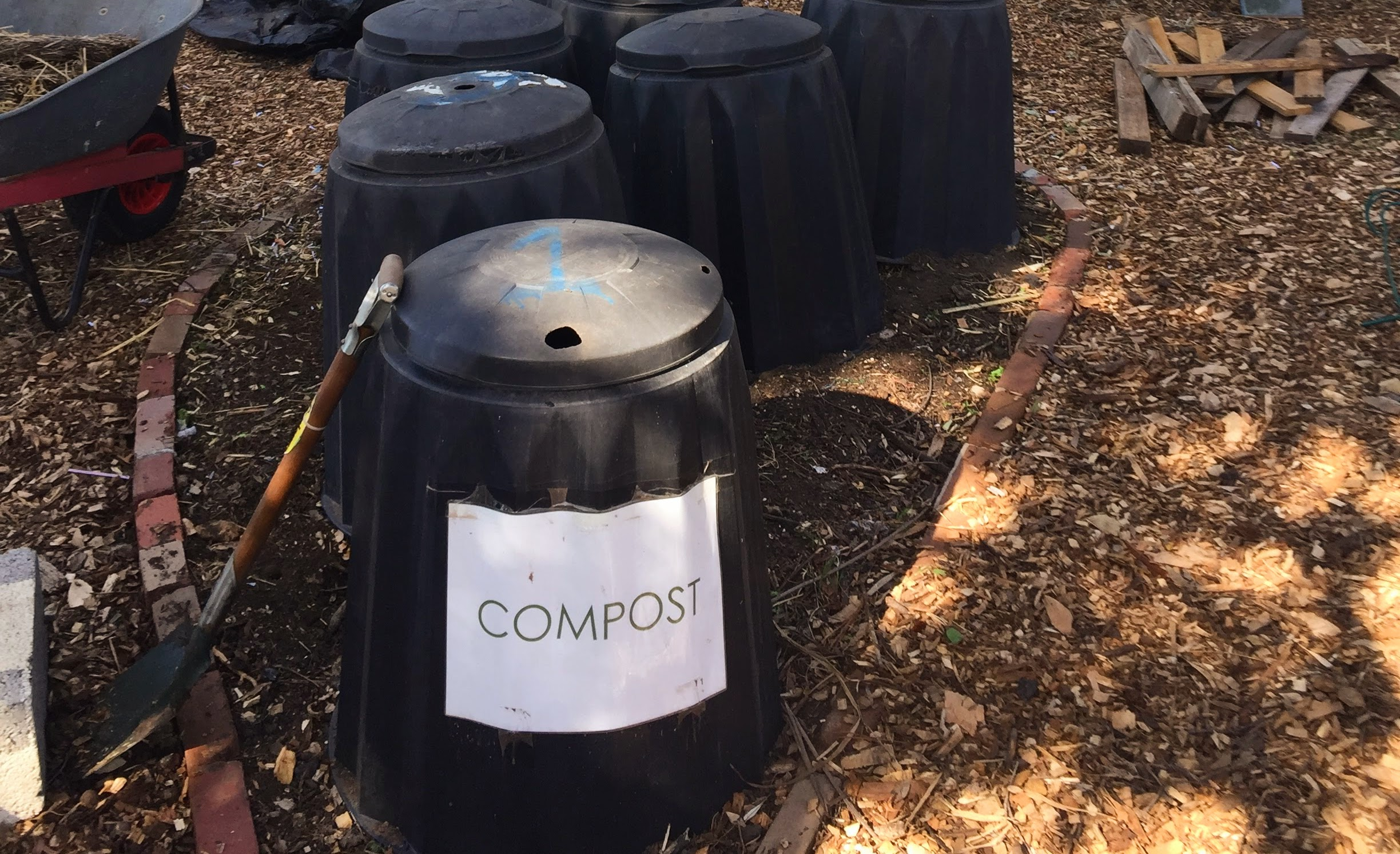 Compost bins at the Acton Community Garden Food Waste Education Hub