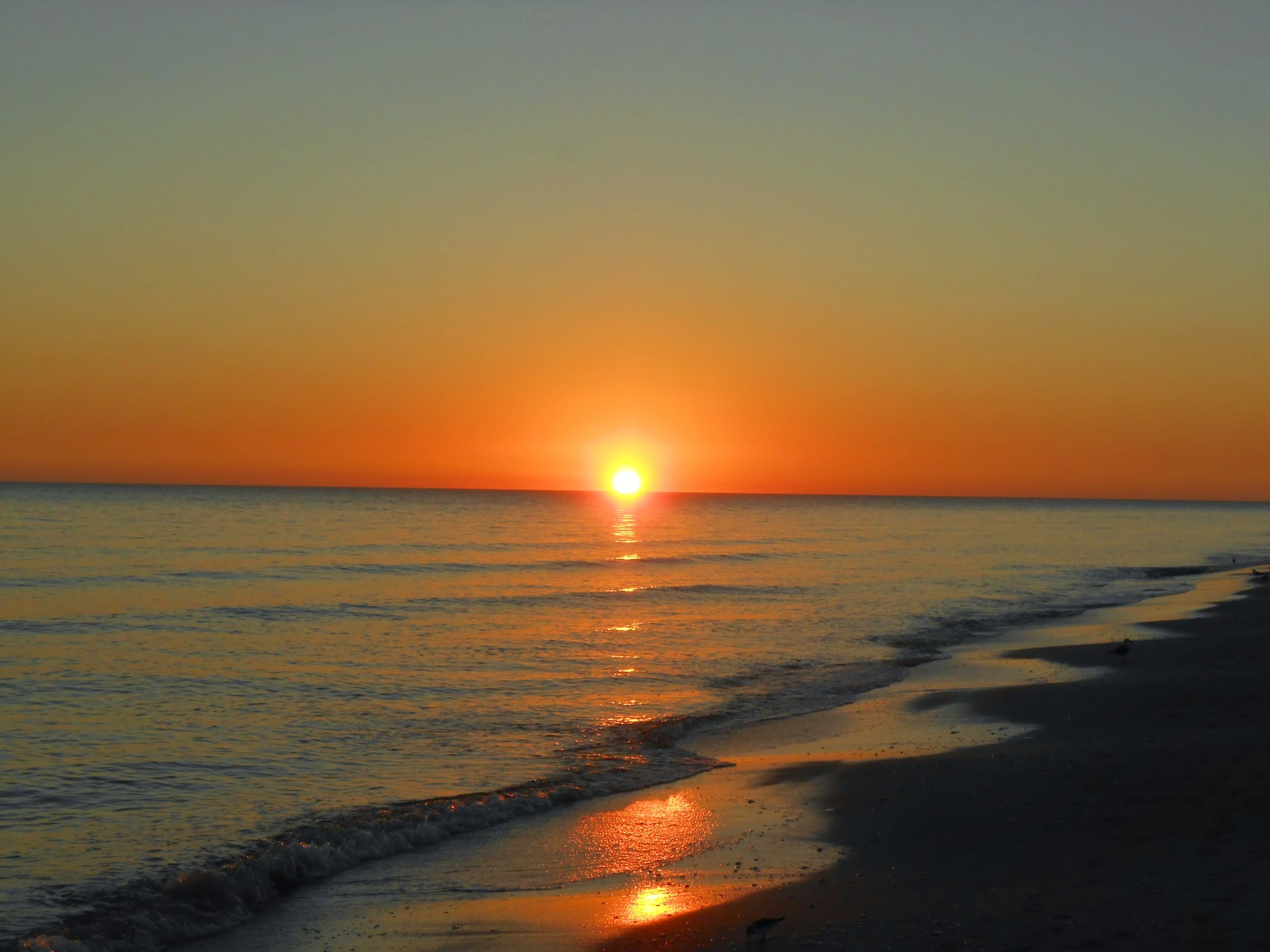 Sunset over the Gulf of Mexico at Gulfside Beach, Sanibel.