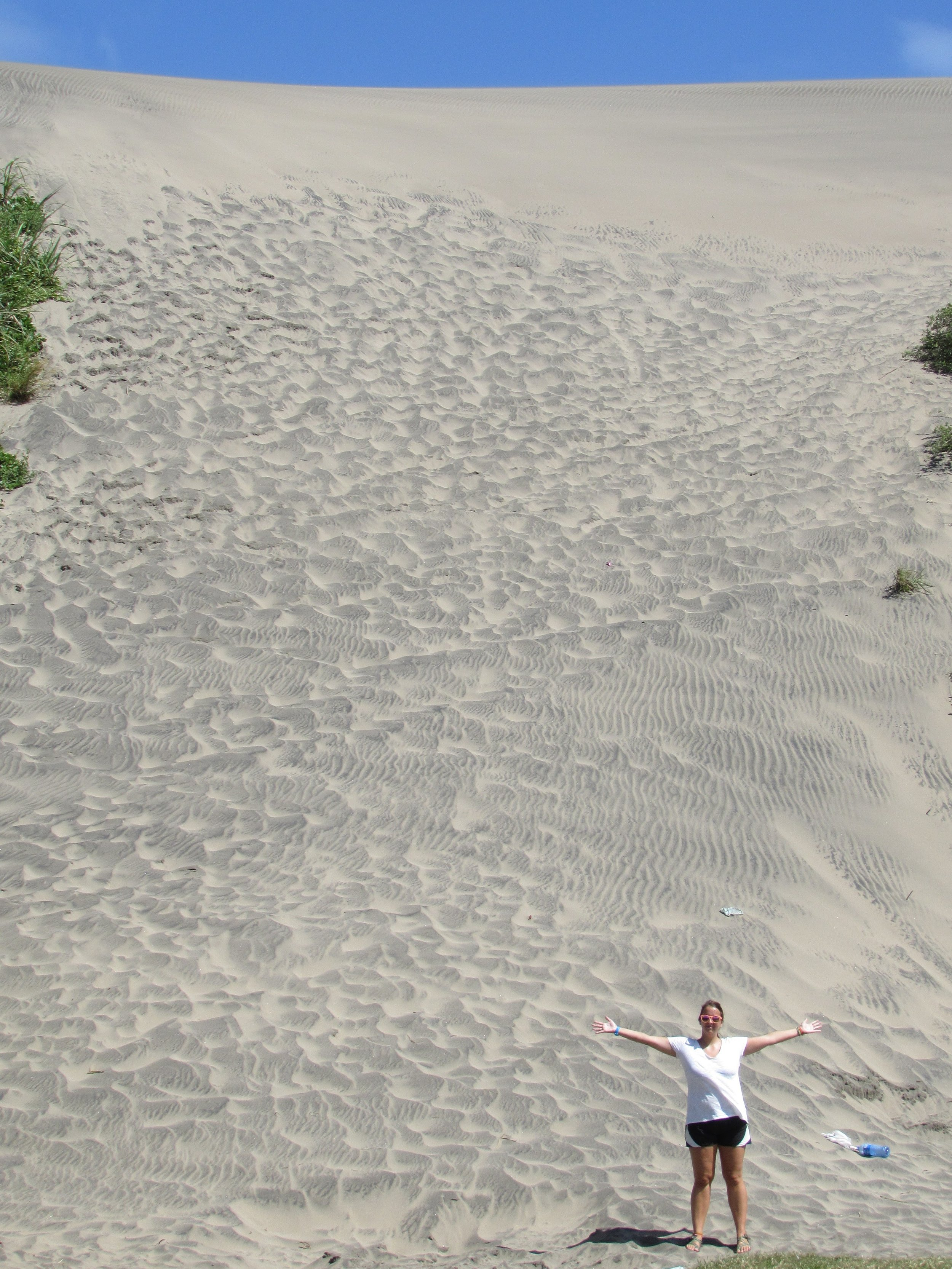 The dunes were so tall! We scaled this whole sandy ascent.