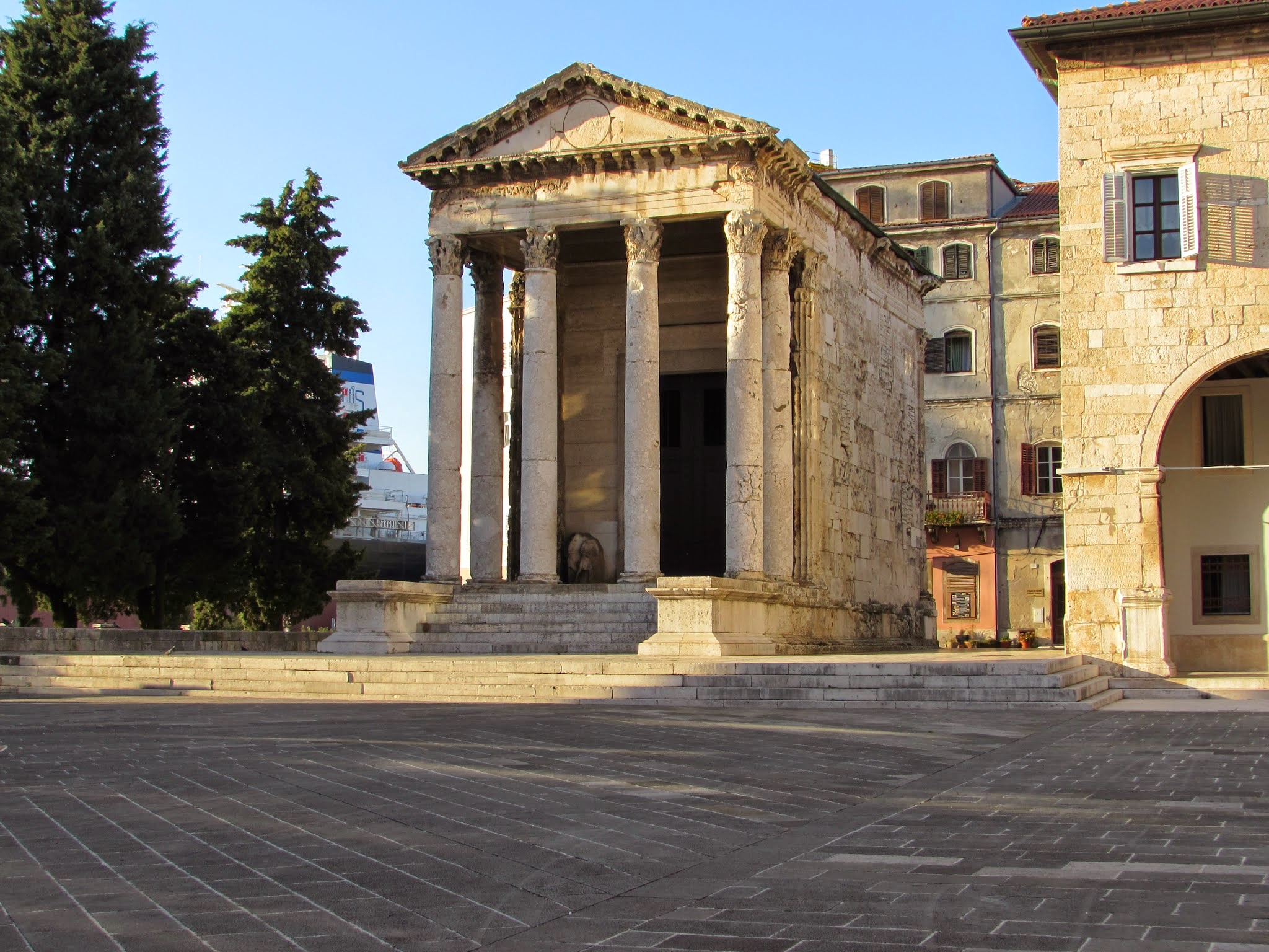 The Temple of Augustus in the old Roman forum of Pula.