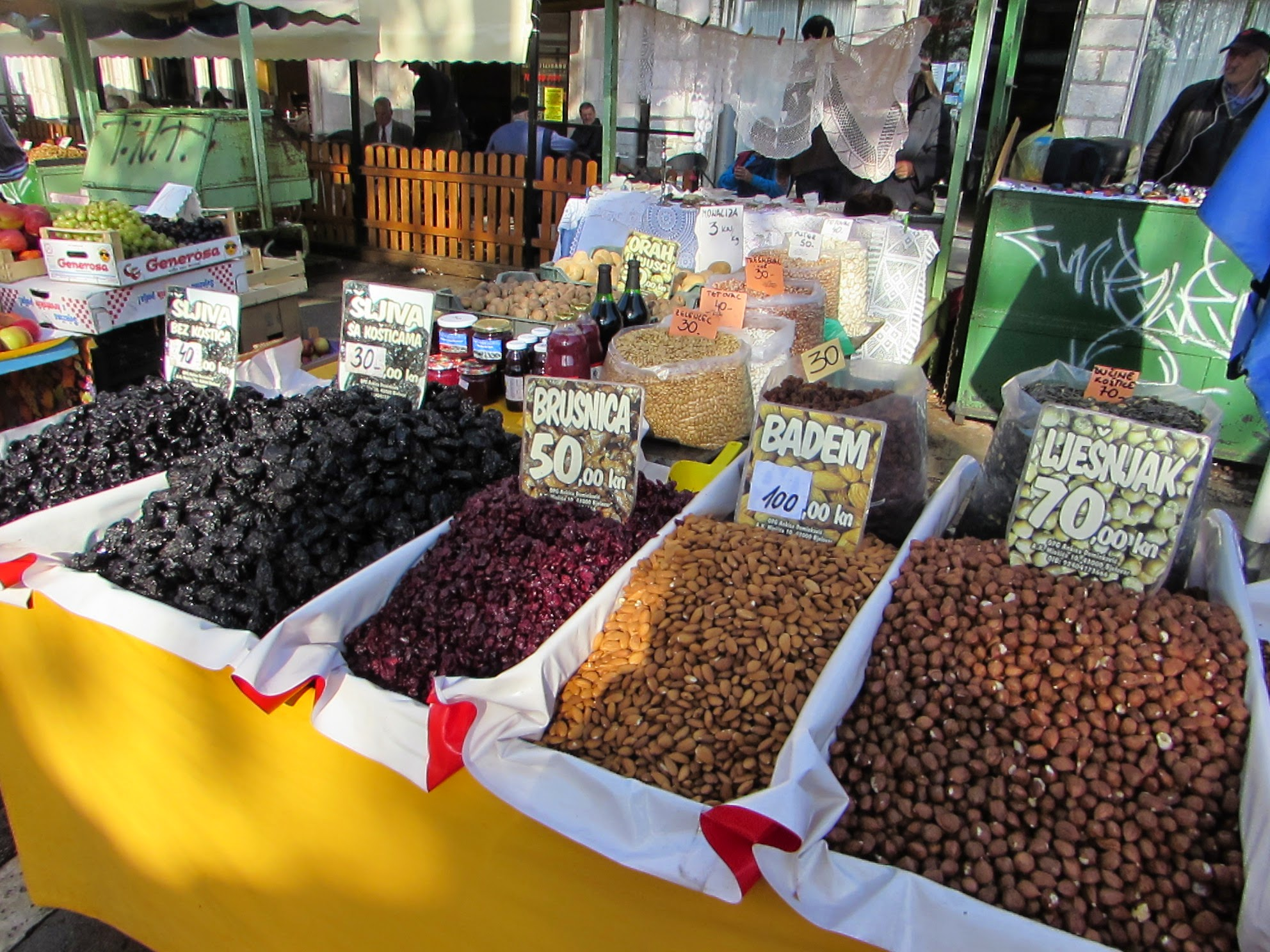 Nuts and dried fruit for sale at Pazar Market, Split.