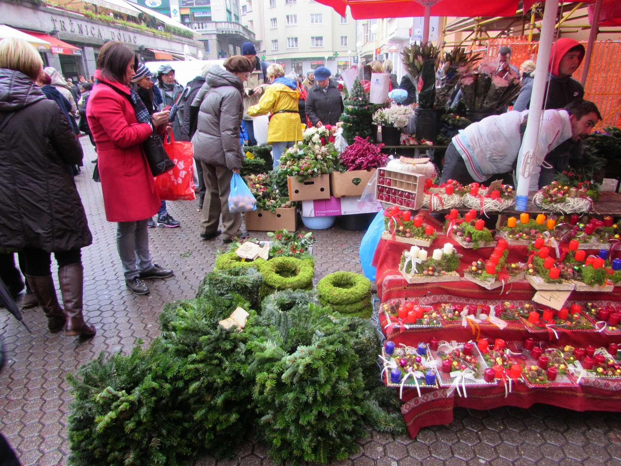 Christmas wreaths and garlands on offer at Dolac.
