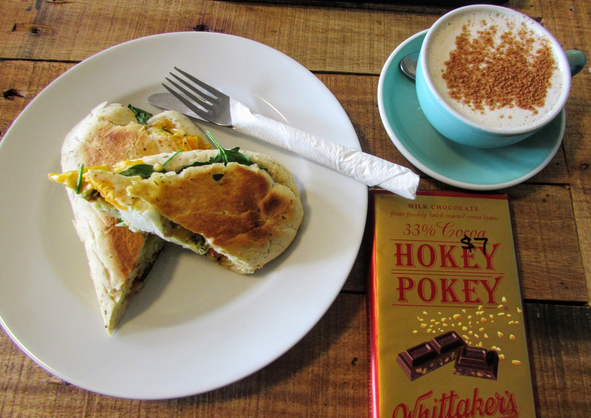 We had brunch in Waitomo at a little cafe/convenience store and split this whole hokey pokey bar for dessert.
