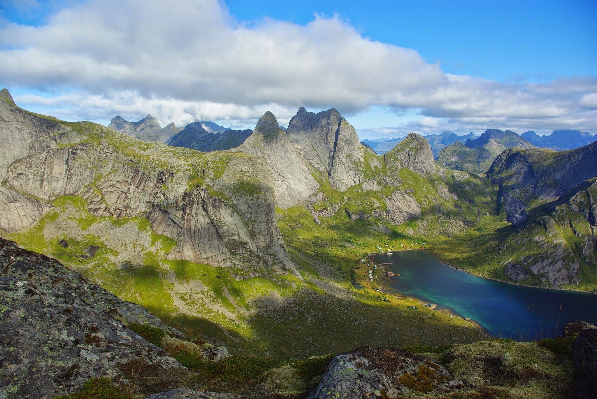 Neighboring Kjerkfjord as seen from Helvetestinden.