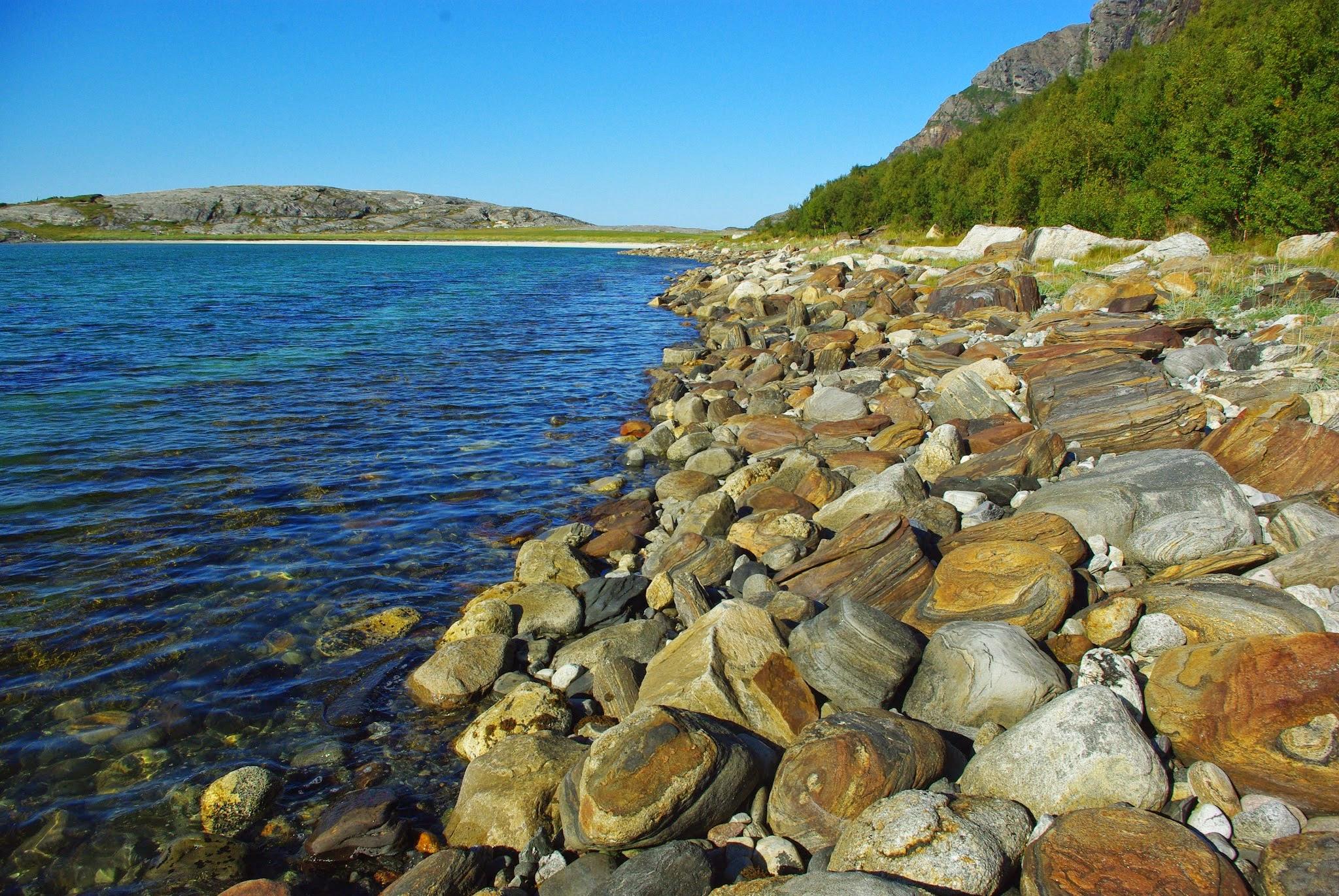 The weird and wonderful rocks of Mjelle beach.