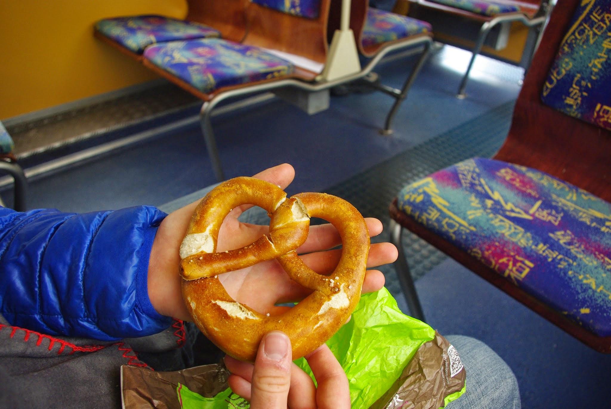 A very Bavarian scene: a pretzel on the cogwheel train up to the plateau, the Zugspitzplatt.