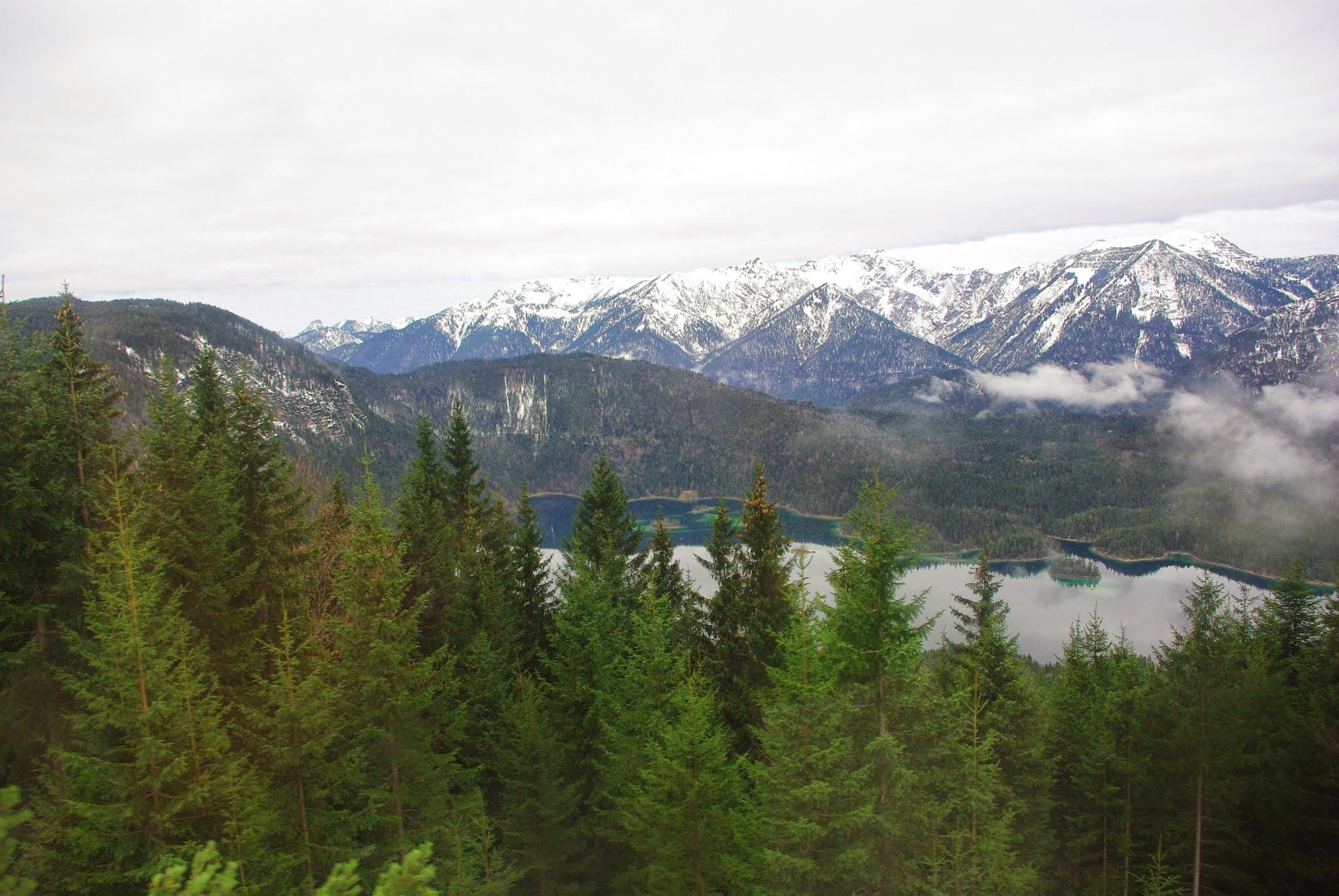 Lake Eibsee as seen from the cogwheel train.