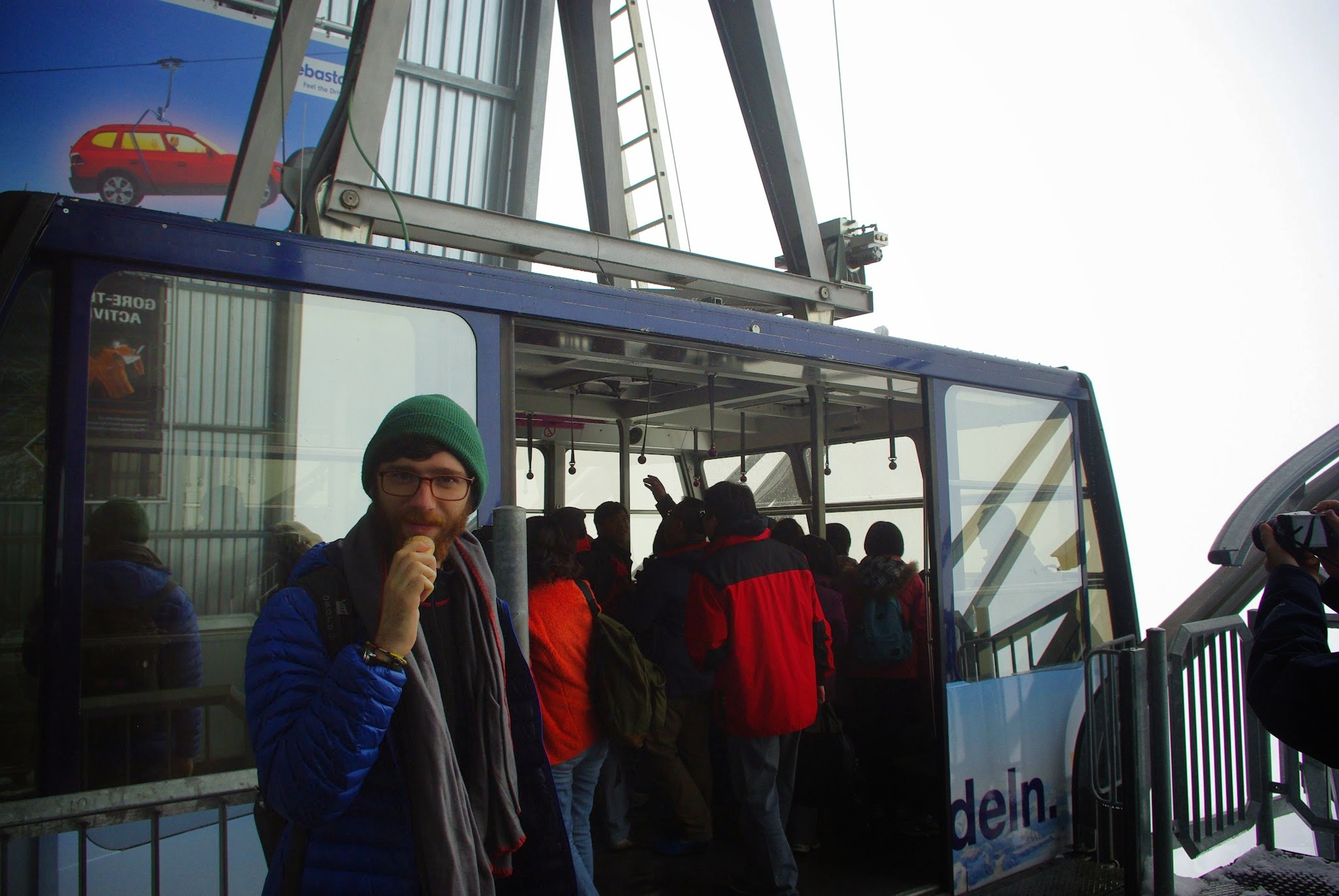 After sledding and getting some ice cream cones (why not?), we got on the funicular that would take us to the summit.