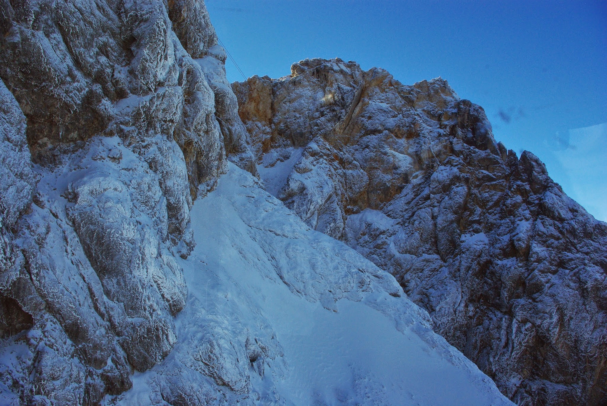 One last look at the snowy limestone of the Zugspitze as we left the summit on the Eibsee funicular.