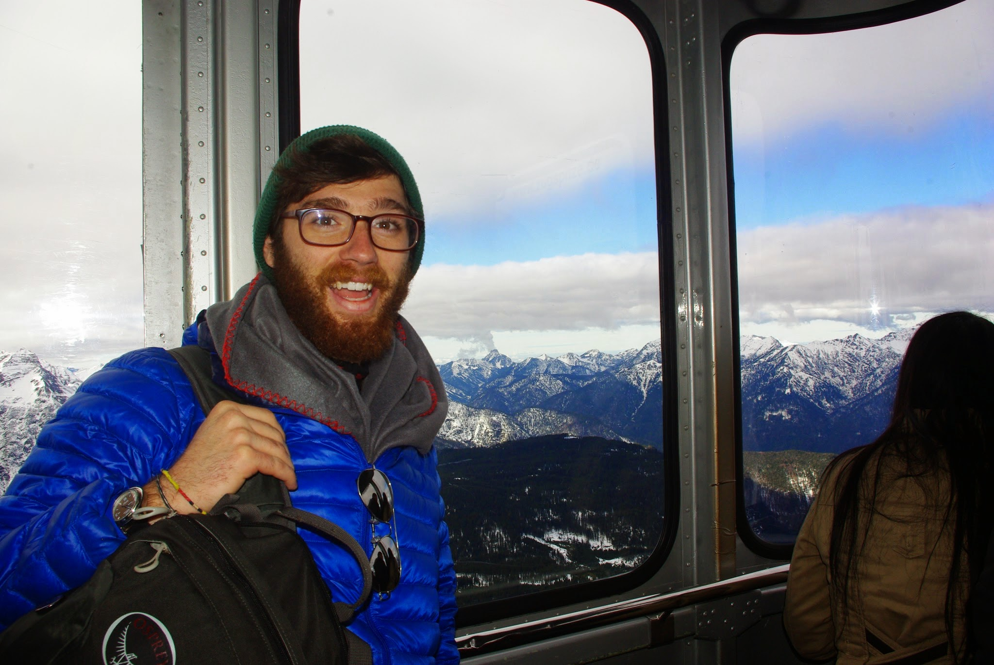 The cable car broke through the cloud cover and we finally got to see more of the Alps.