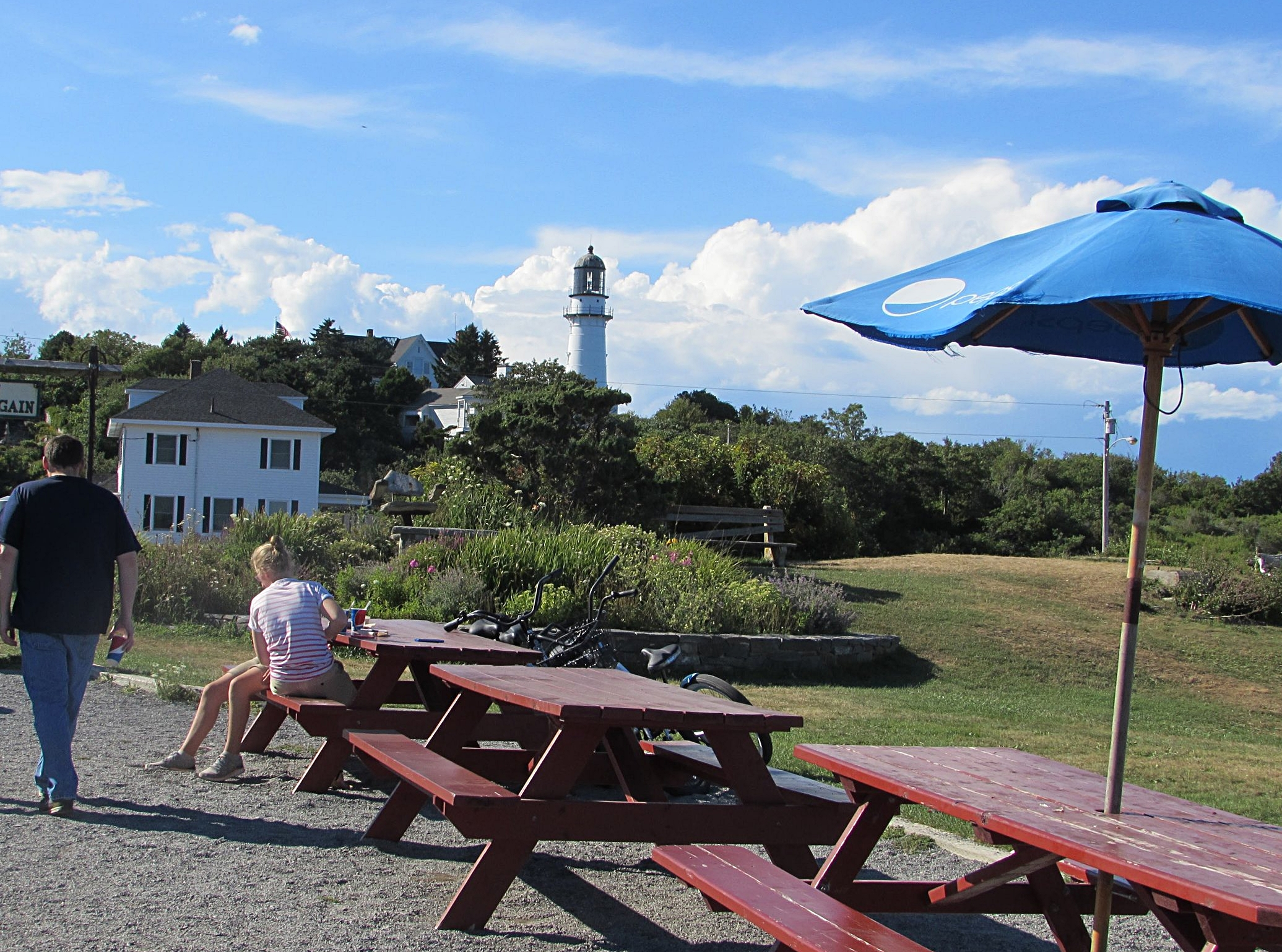 Seating at The Lobster Shack near the Two Lights of Cape Elizabeth.