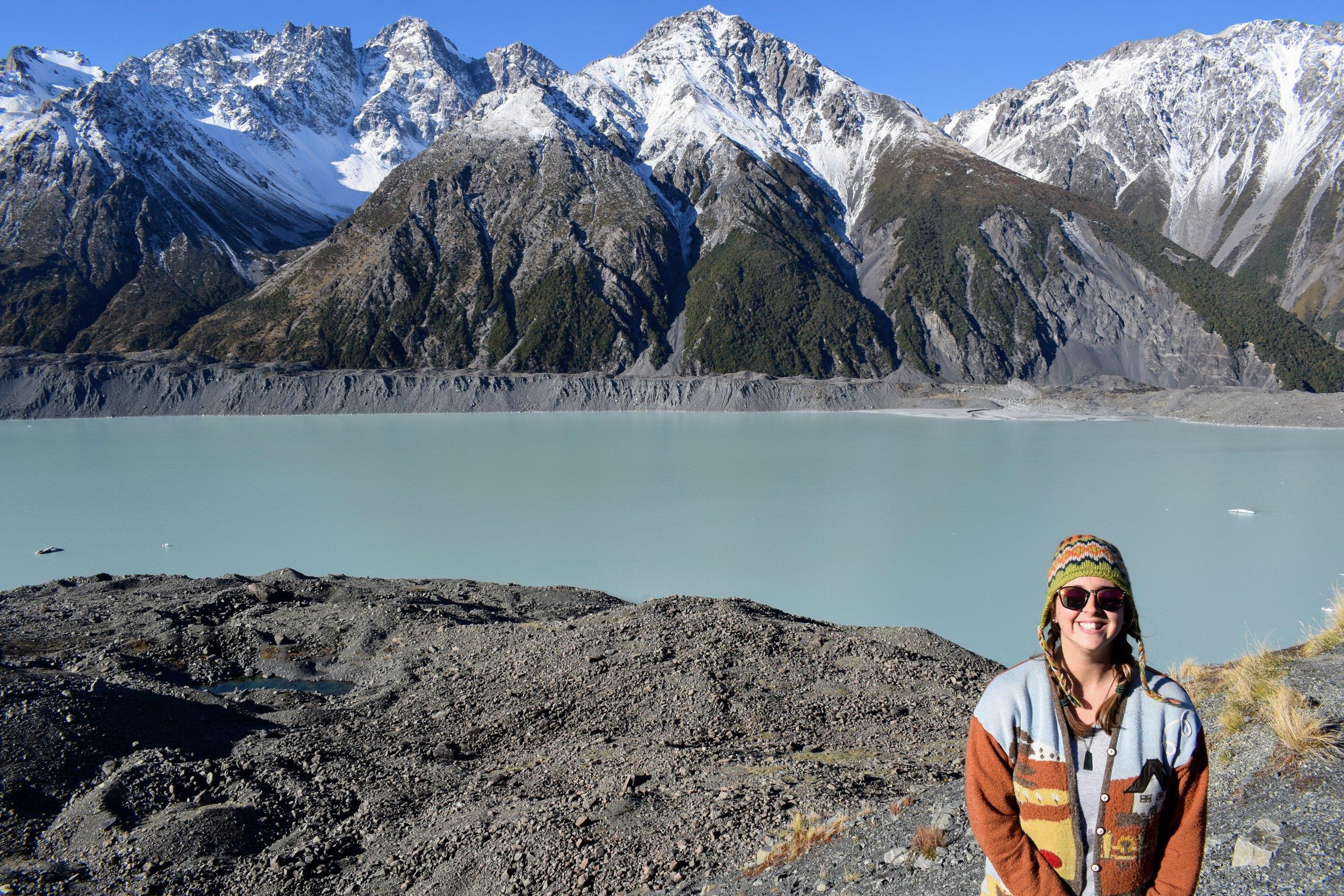 The glacial moraine lake of Tasman Valley behind me.