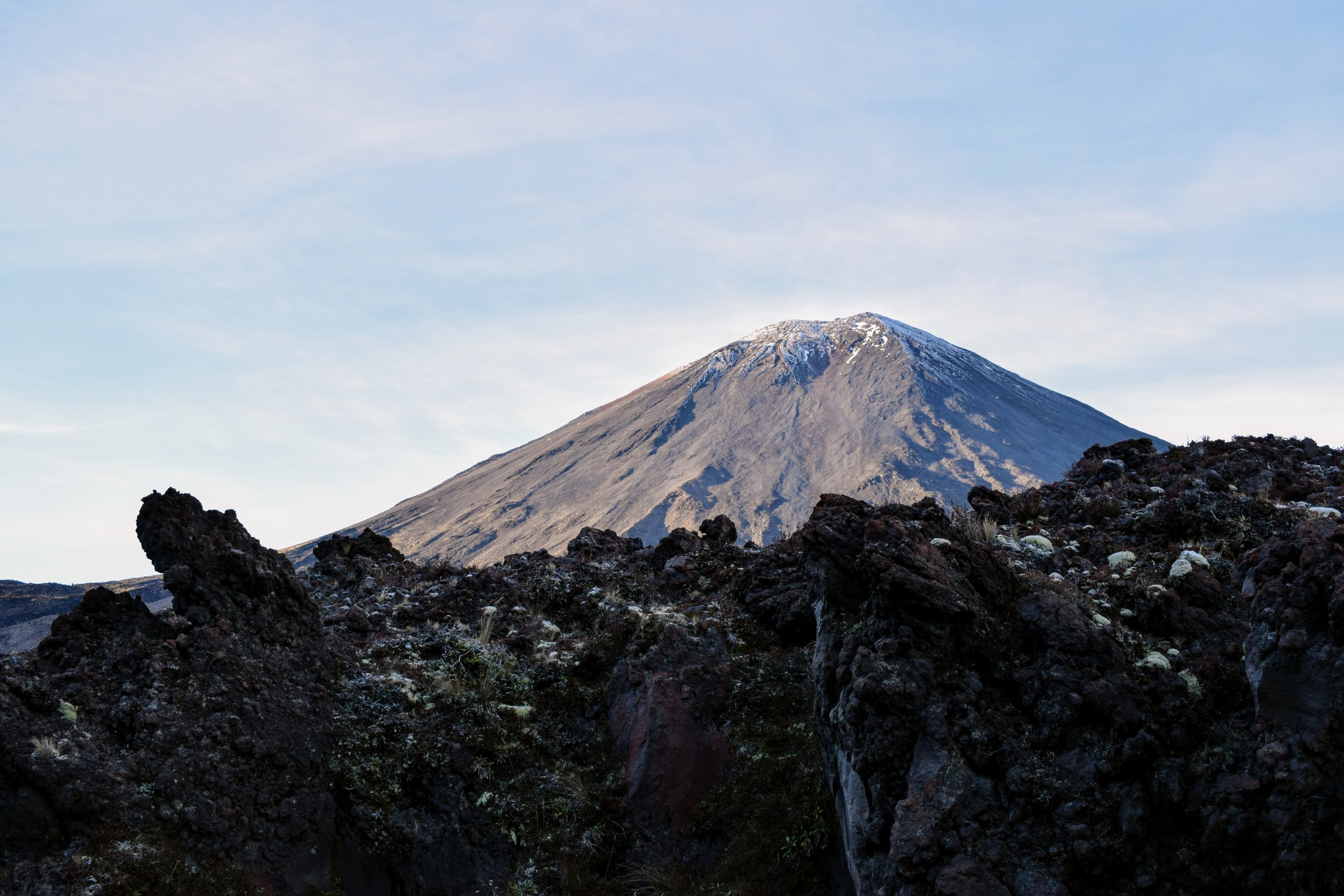 Mount Ngauruhoe as seen from the track near Mangatepopo Hut.