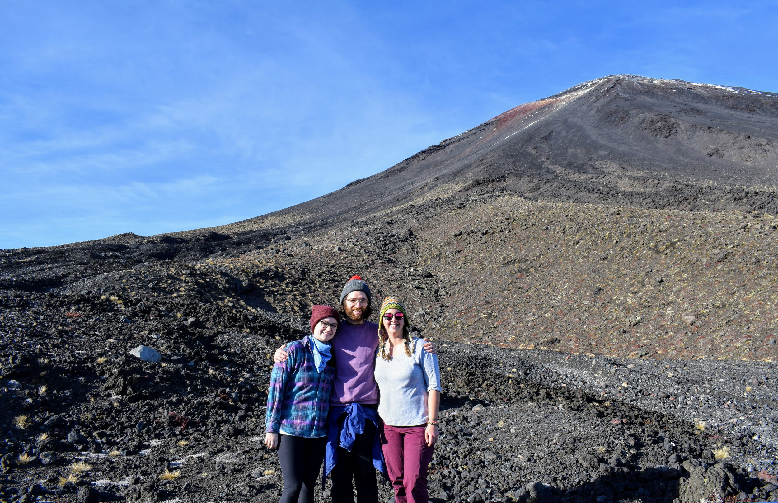 The three of us at the foot of Ngauruhoe.