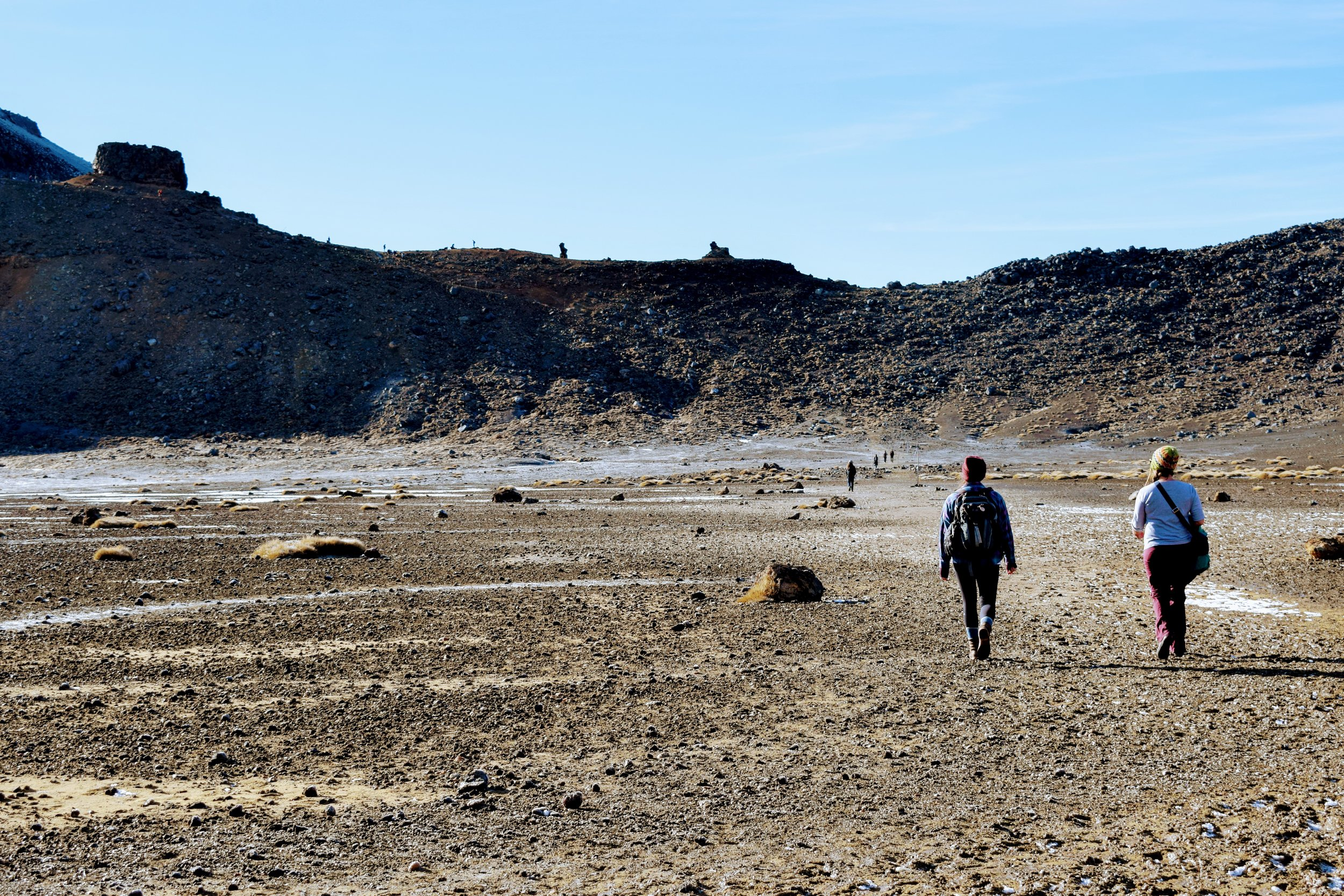 CJ and I walking across the muddy, flat South Crater.