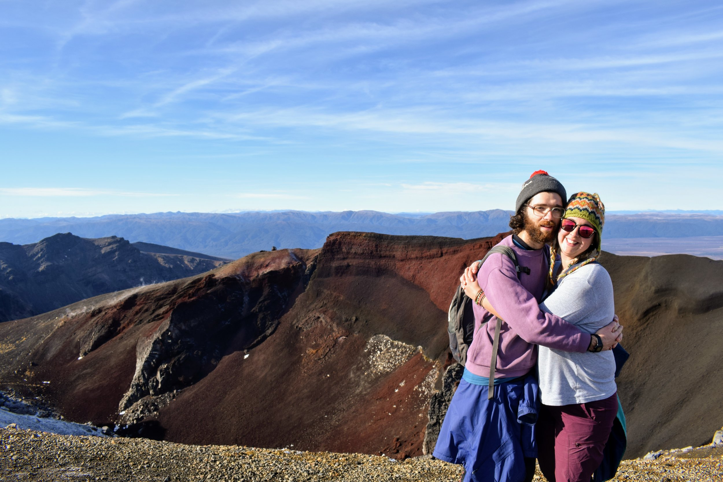 Emmett and I huggin' about the Red Crater behind us.