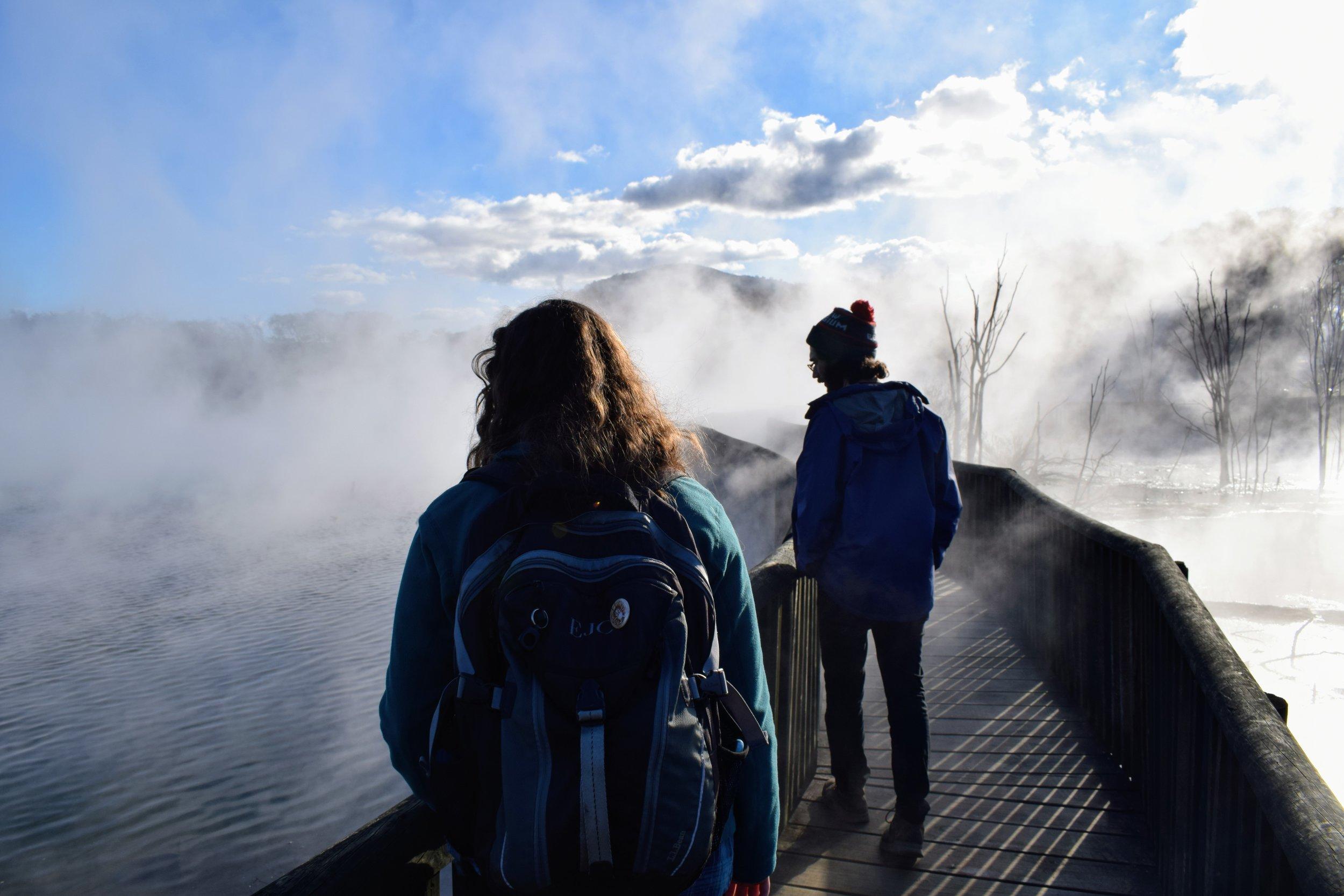 Walking above a thermal pool in Kuirau Park, Rotorua.