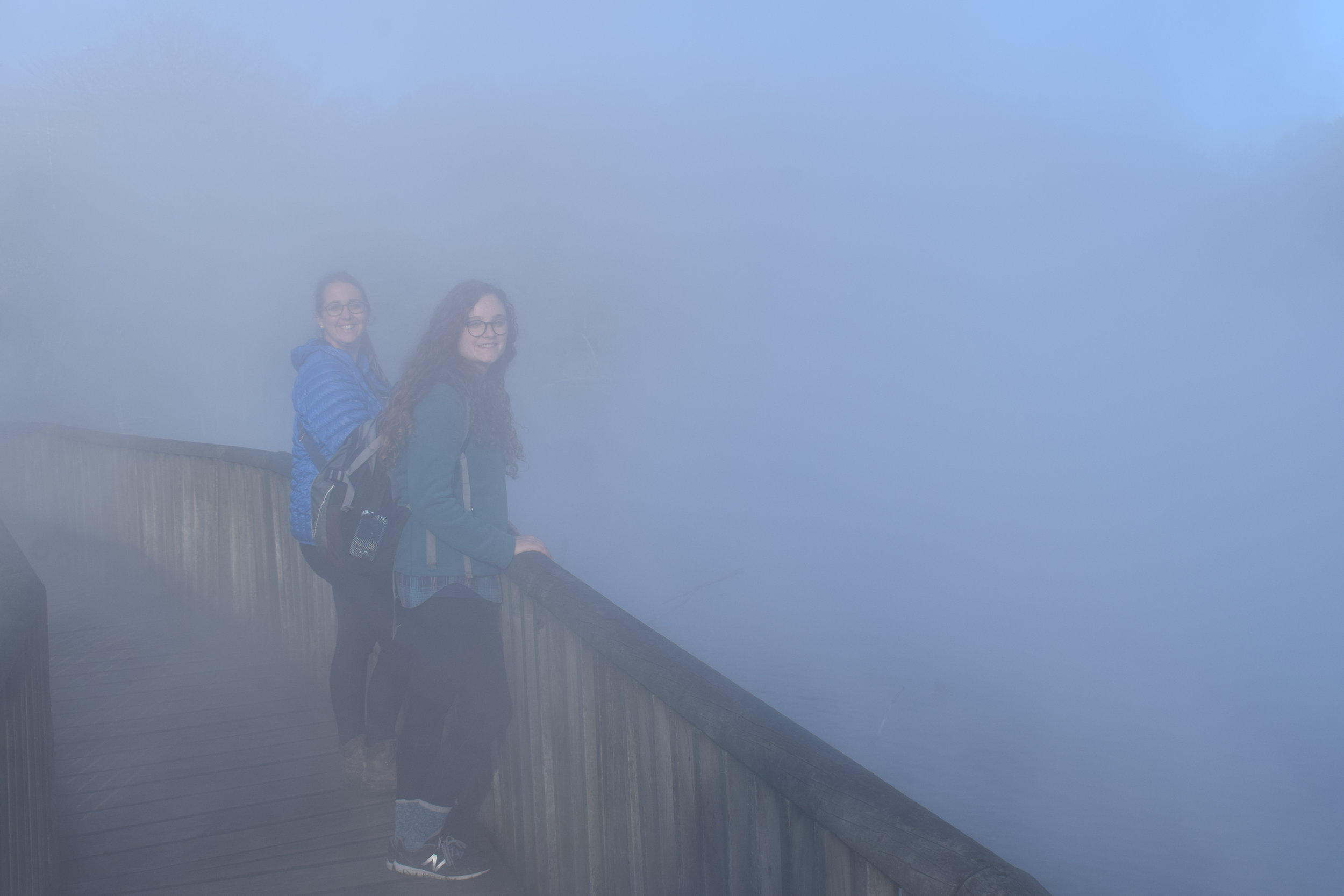See what I mean? You can barely see CJ & I through the steam. The steam smells like stinky eggs, btw.