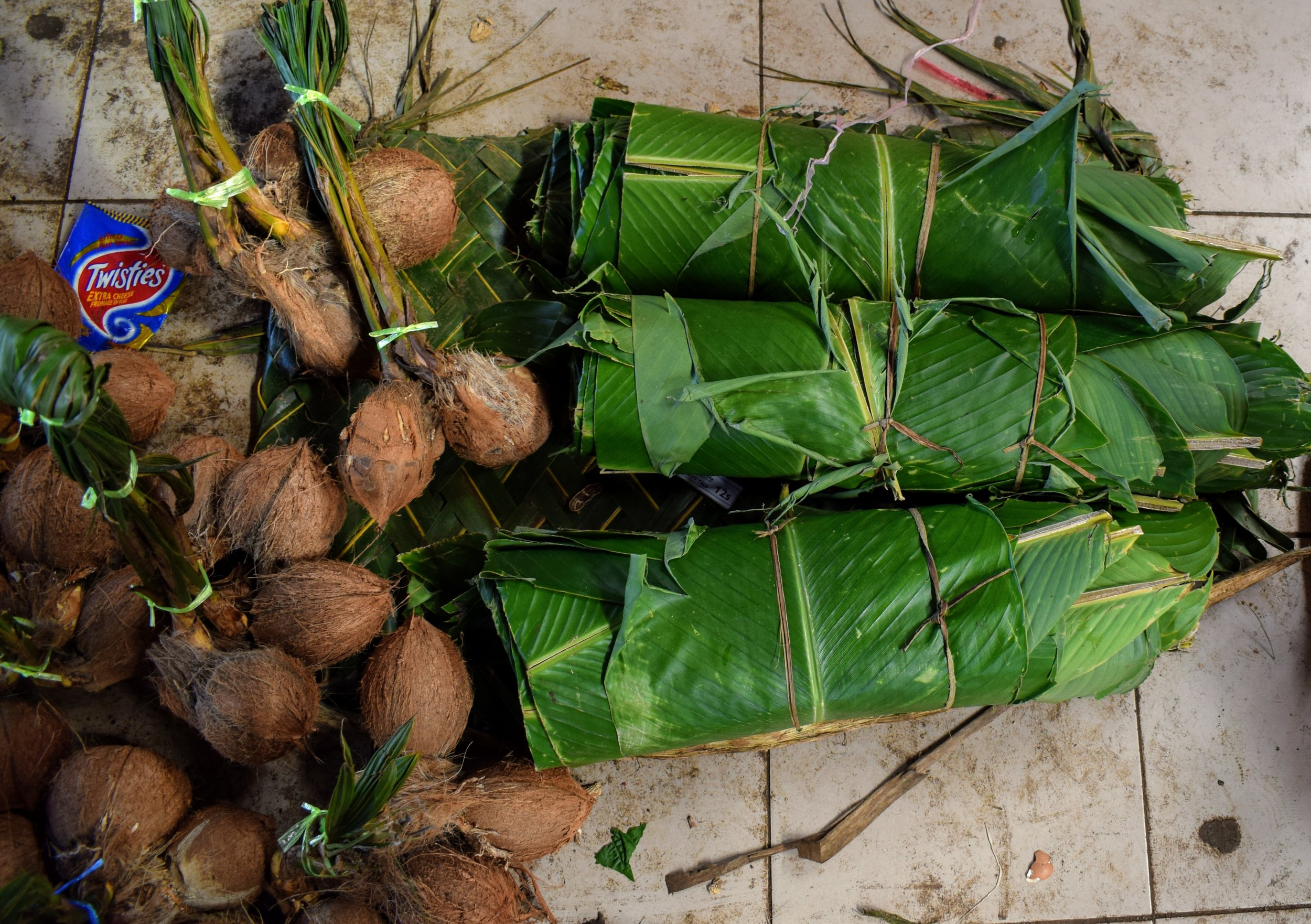 More banana leaves, some coconuts, and... a healthy little bit of dirt & trash.