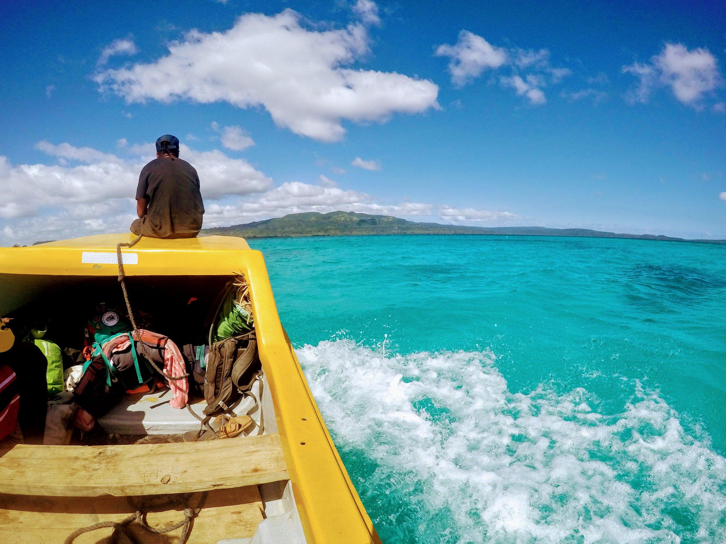 Boating across stunning Undine Bay.