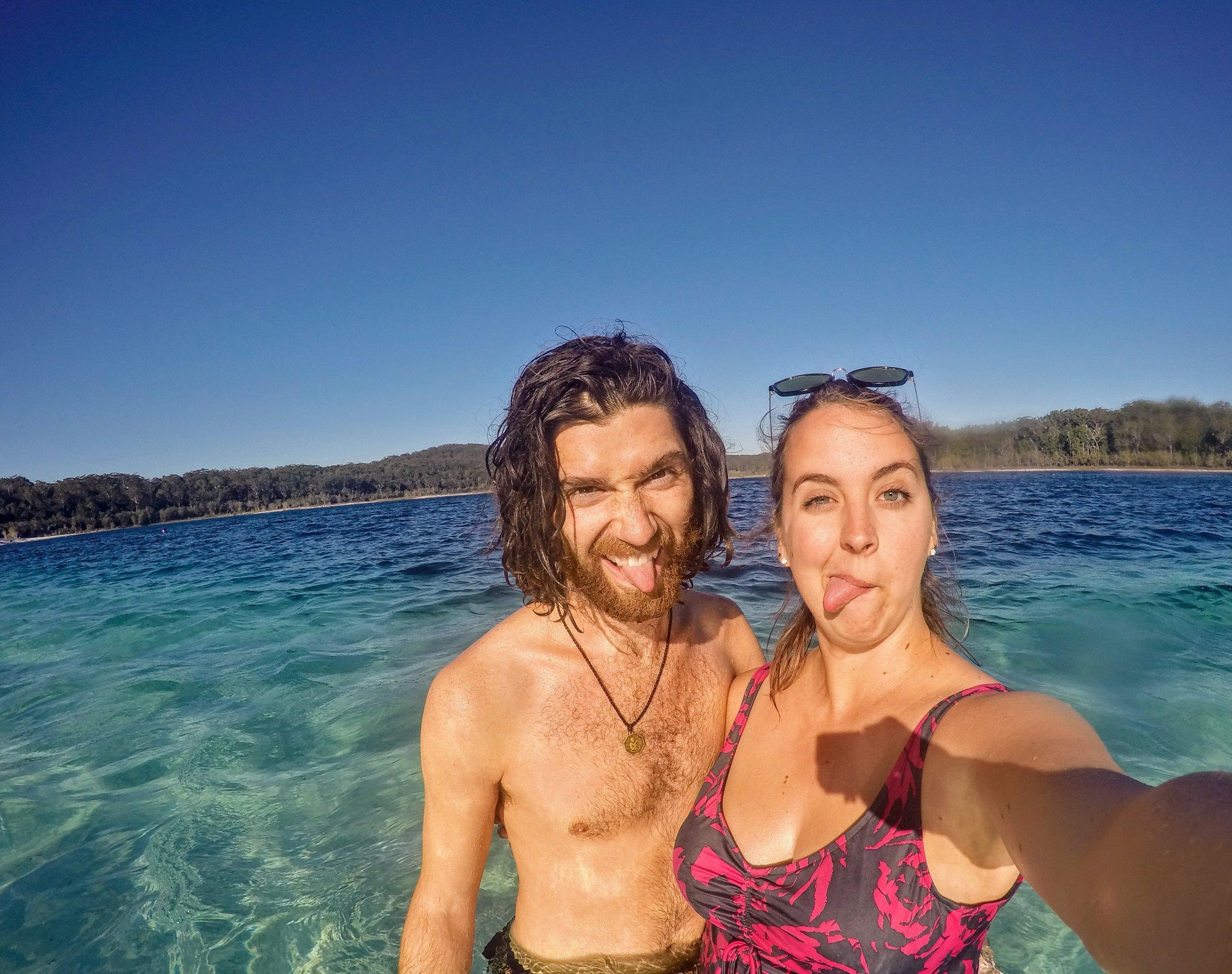 Gettin' goofy at Lake Mckenzie on Fraser Island, QLD, Australia.