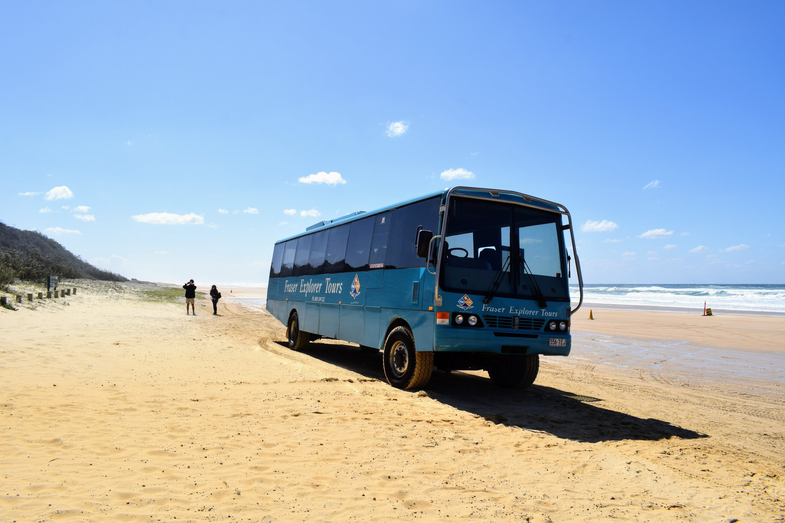 Our tour bus on the sand highway that is 75 Mile Beach.