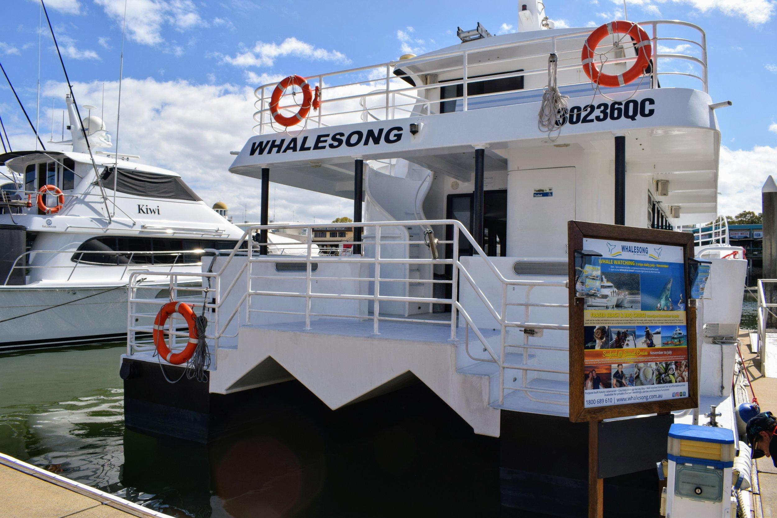 The MV Whalesong 2 docked at Urangan Marina.