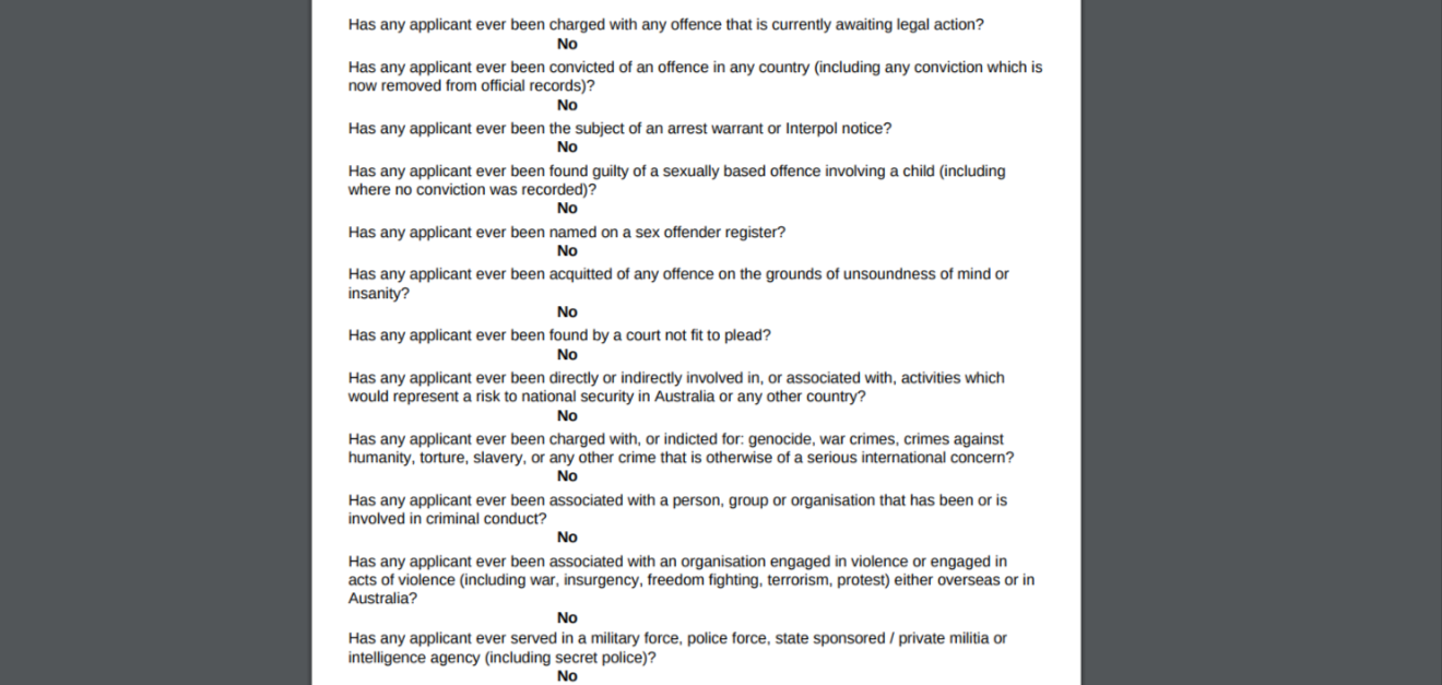 This is a screen grab of my completed app. Look at all these crime-related questions they asked!
