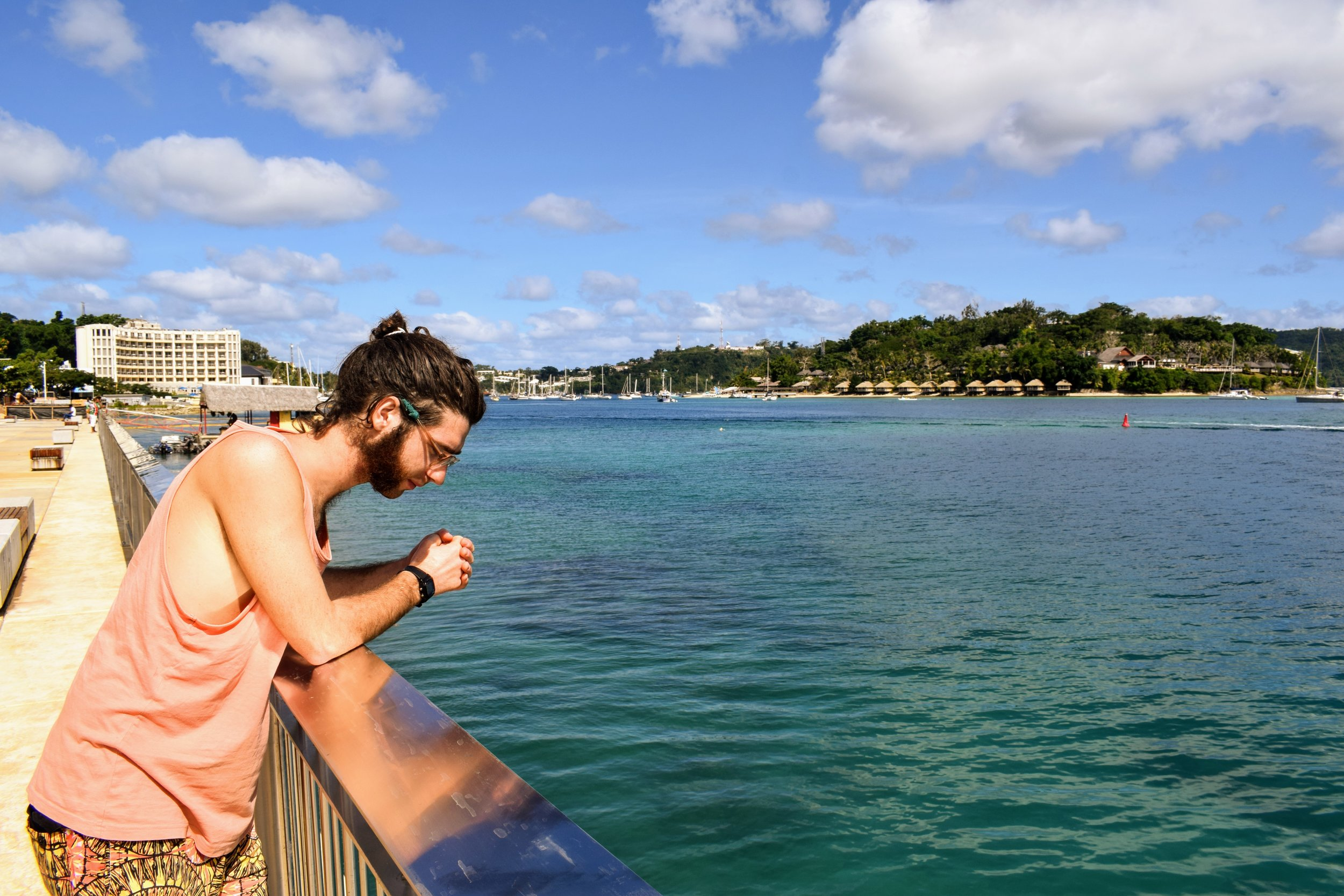 Looking for fish in the clear waters off of Vila's Promenade.