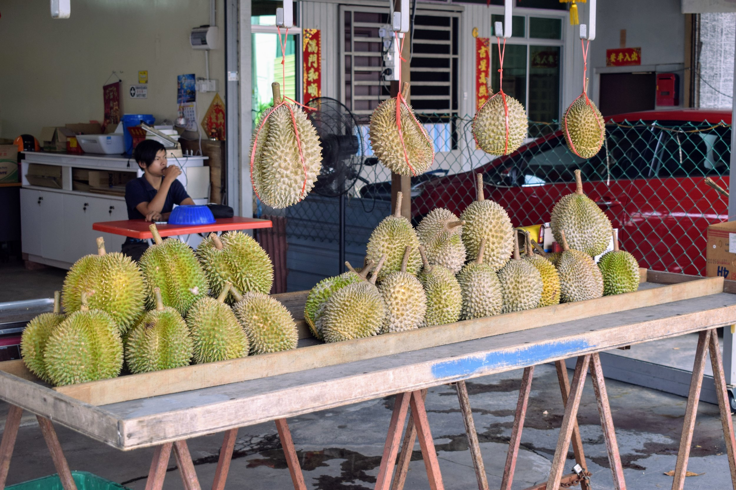 Durians for sale along Weld Quay in George Town.