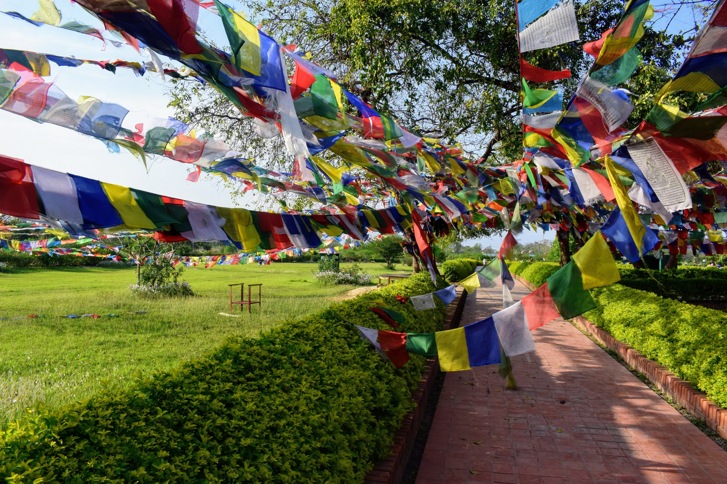 Prayer flags flutter in the warm breeze near the Buddha's birthplace in Lumbini.