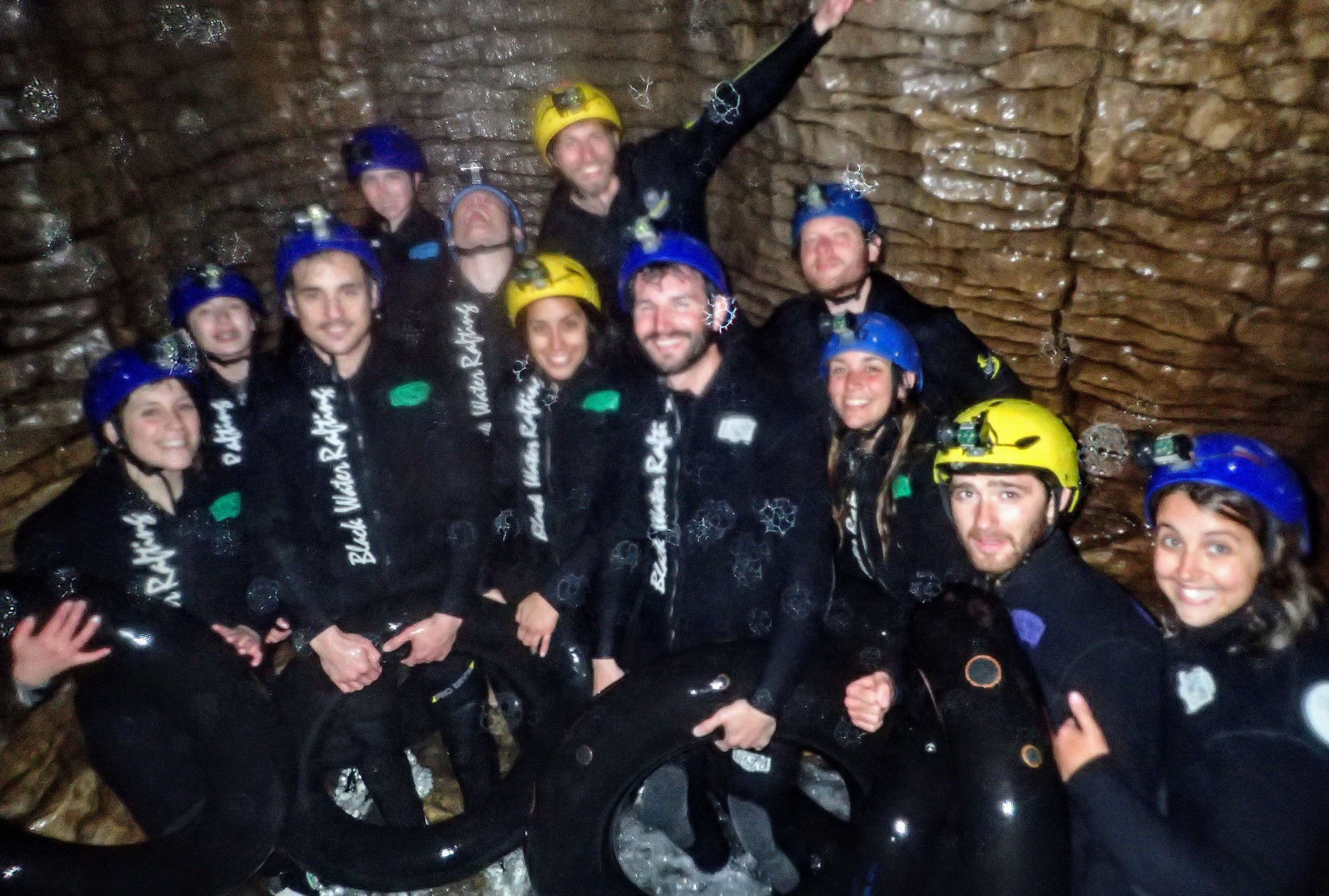 Blurry cave picture (that's us on the lower right) - Courtesy of the  Legendary Blackwater Rafting Co.